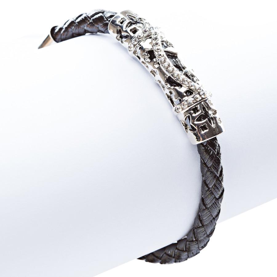 Simple Style Rope Cord Crystal Rhinestone Fashion Bracelet B459 Black Silver