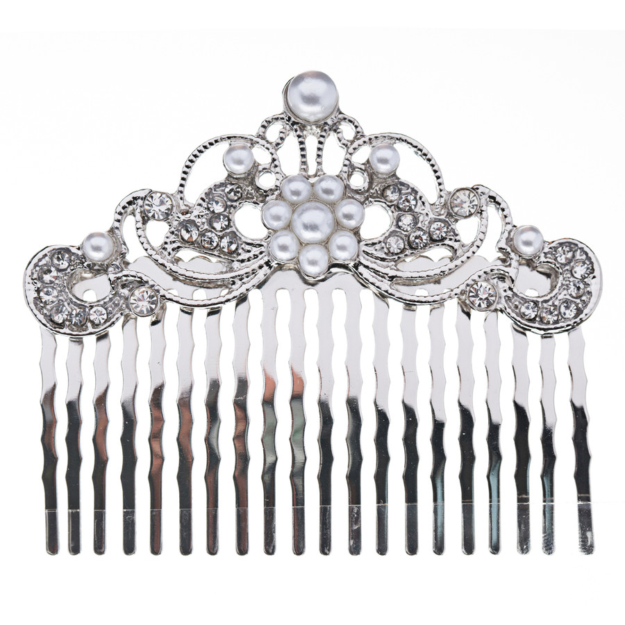 Bridal Wedding Jewelry Crystal Rhinestone Pearl Beautiful Vintage Hair Comb Pin