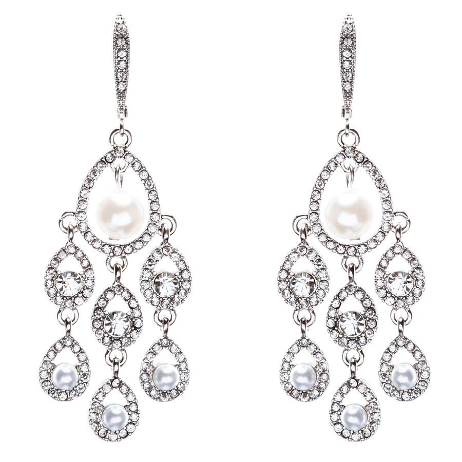 Bridal Wedding Jewelry Crystal Rhinestone Elegant Faux Pearl Earrings E818Silver