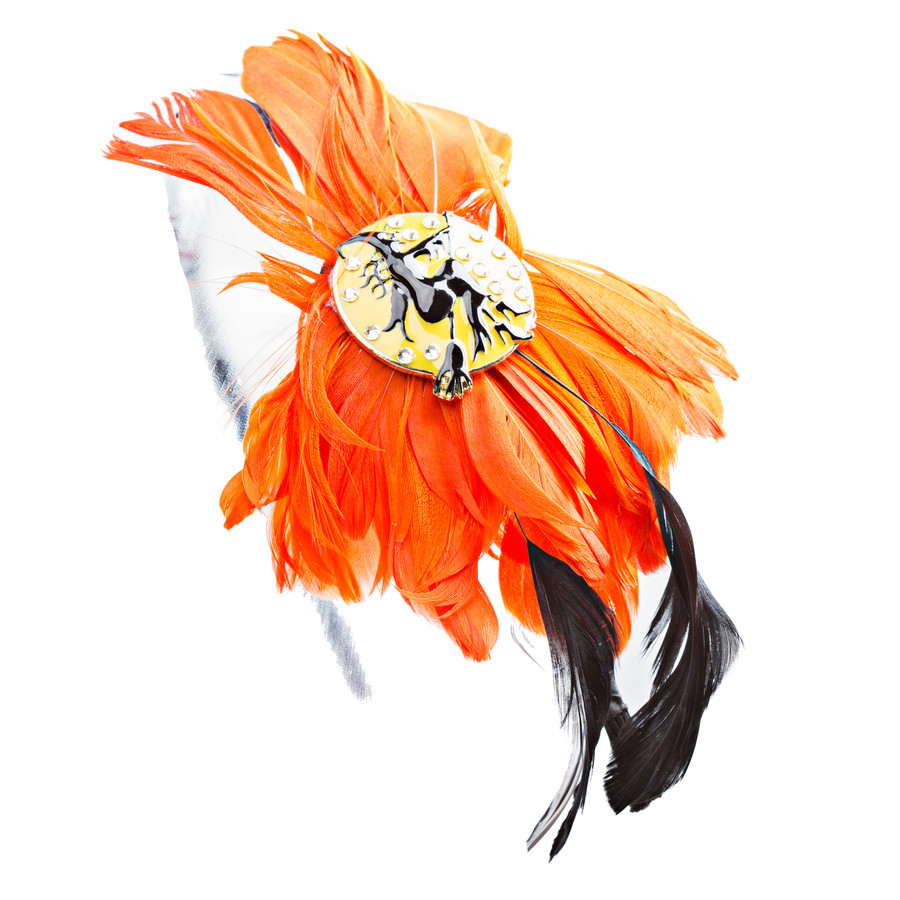 Chic Fashion Eye-Catching Charm Bright Colored Feather Hair Headband H482 Orange