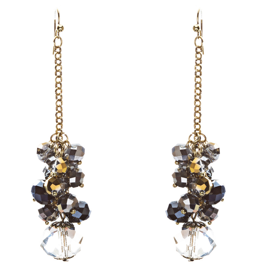Trendy Design Crystal Rhinestone Lovely Cluster Balls Dangle Earrings E846 Black