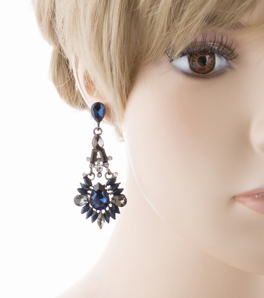 Bridal Wedding Jewelry Crystal Rhinestone Intriguing Fashion Earrings E726 Blue