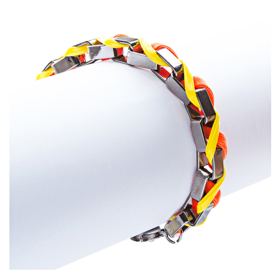 Casual Design Ordinary Yet Striking Wrap Around Braided Link Bracelet B487Orange