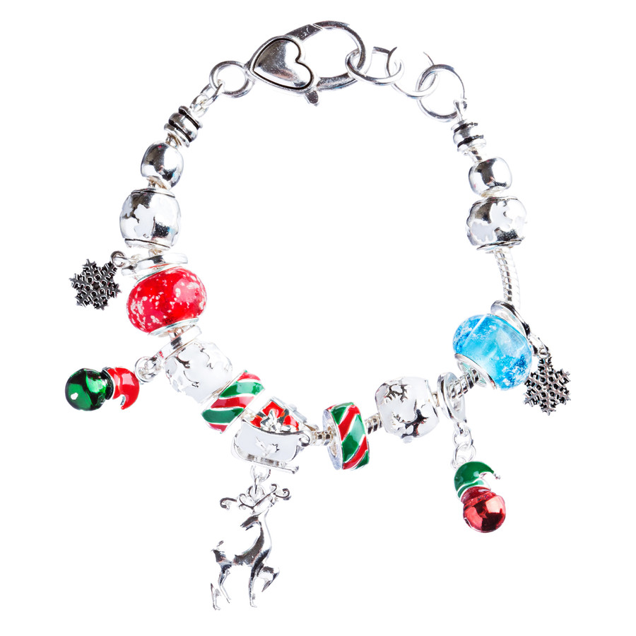 Christmas Jewelry Beautiful Glass Beads Colorful Charm Link Bracelet B489 Multi