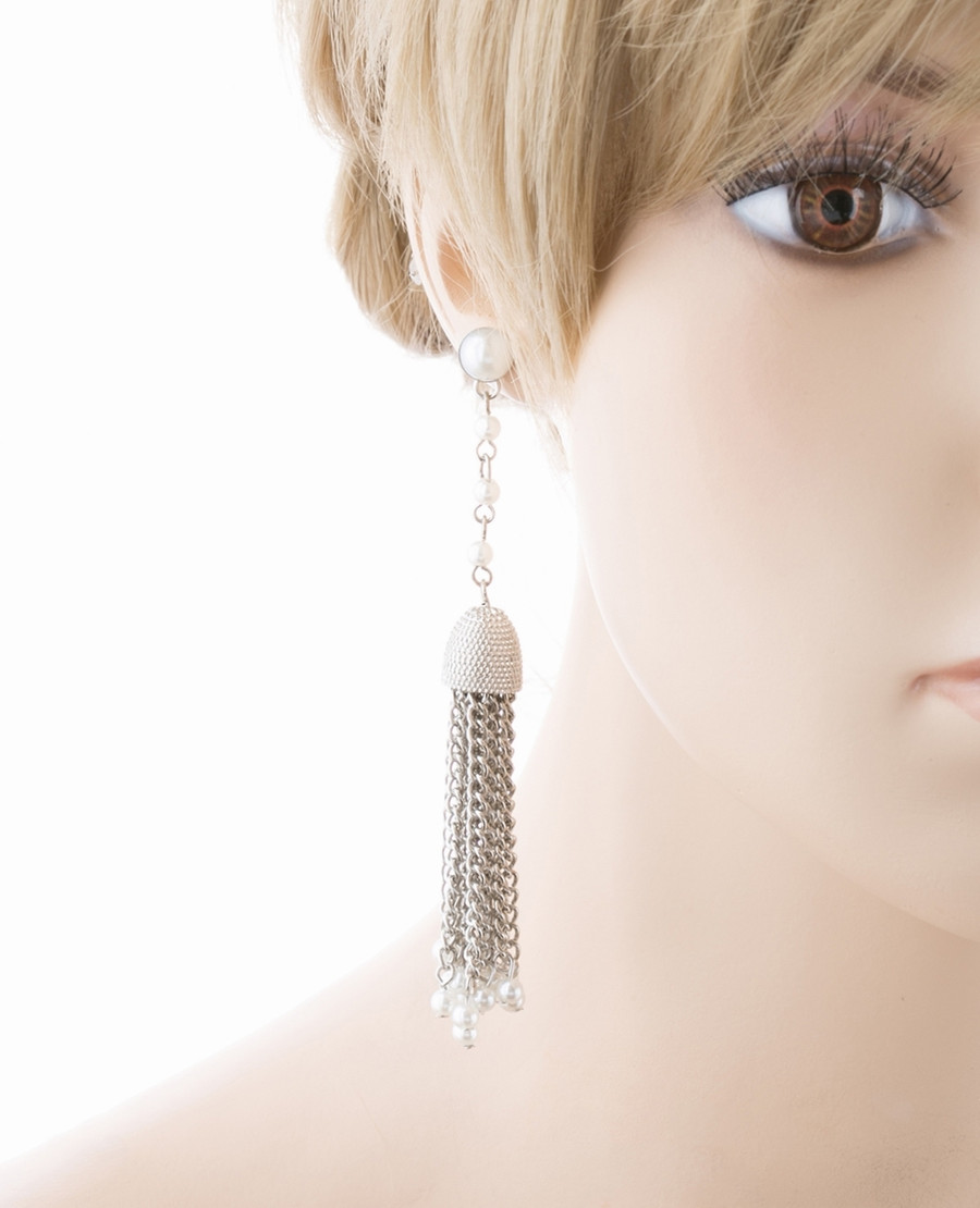 Bridal Wedding Jewelry Beautiful Faux Pearl Chandelier Dangle Earrings E809 SV