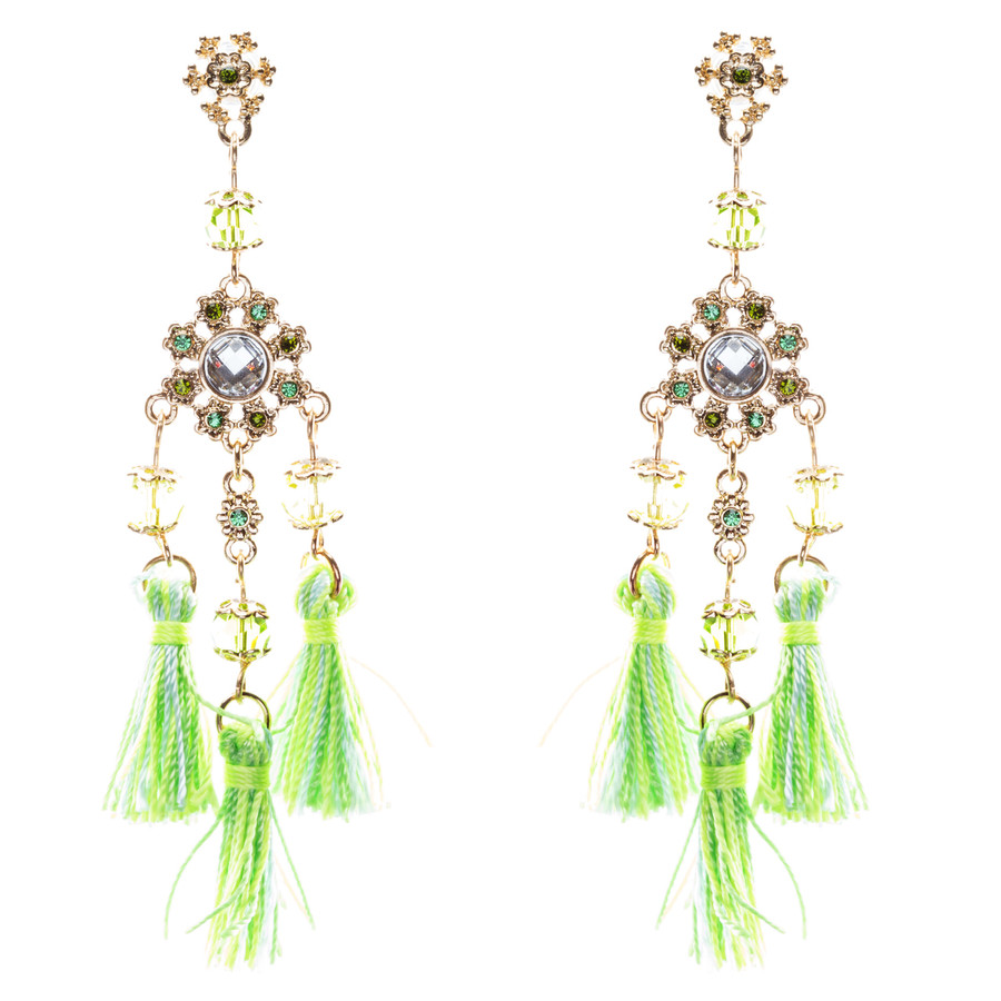 Unconventional Design Crystal Rhinestone Fun Tasseled Dangle Earrings E811 Green