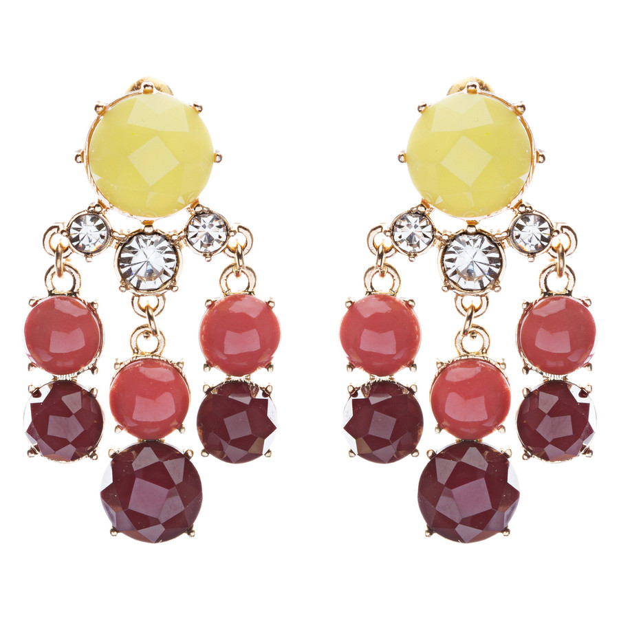 Contemporary Fashion Crystal Rhinestone Daring Design Dangle Earrings E852Yellow