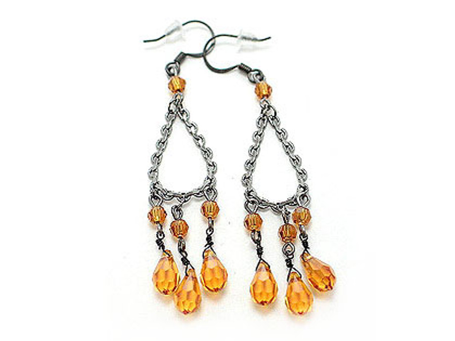Swarovski Crystal Cascade Drop Chandelier Orange