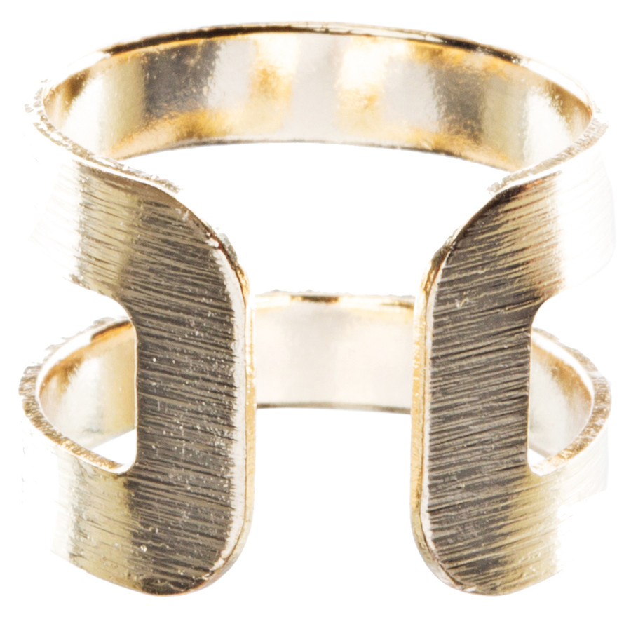 Modern Fashion Contemporary Open Band Wrap Around Design Ring R205 Gold