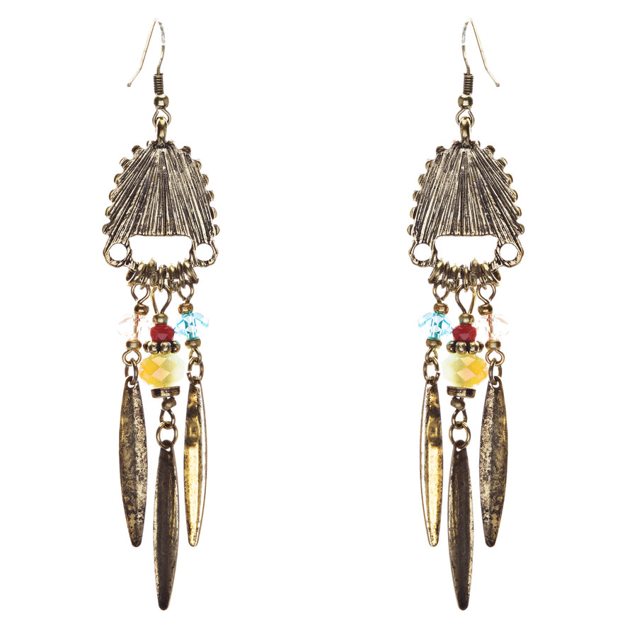 Tribal Fashion Fascinating Long Drop Glass Beads Dangle Earrings E824 Multi