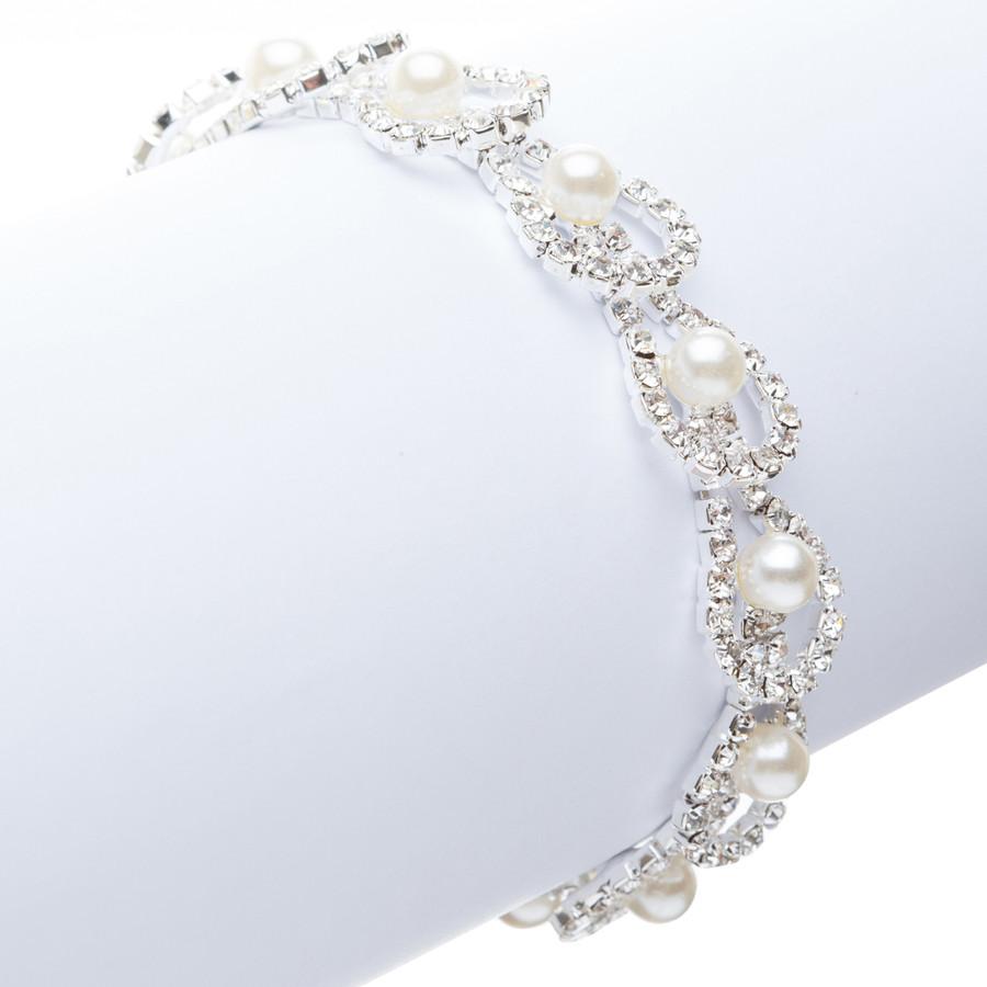 Fashion Chic Crystal Rhinestone Bulb Shape Faux Pearl Link Bracelet B423 Silver