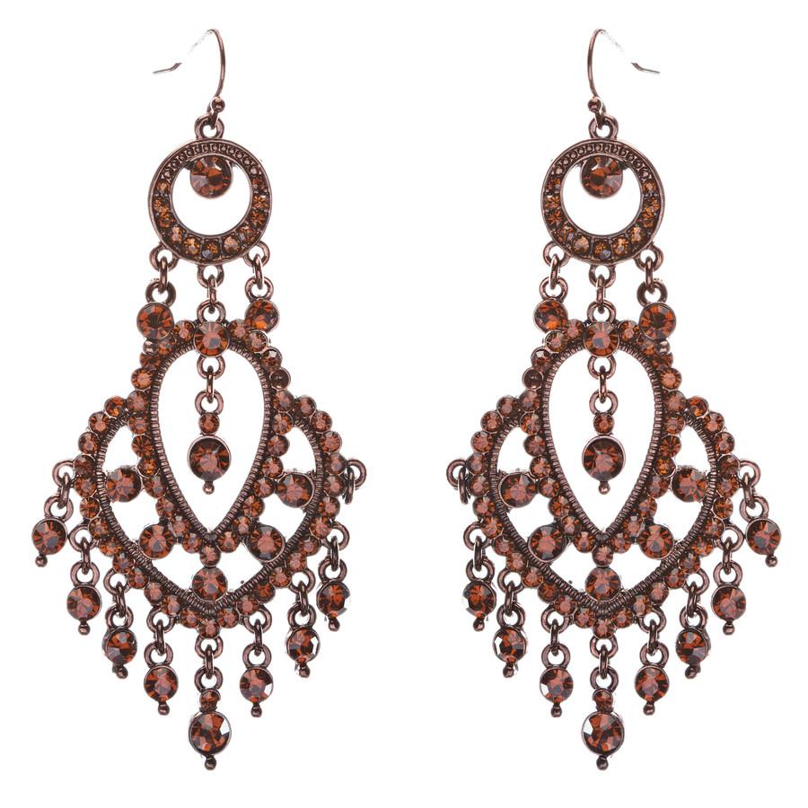 Crystal Pave Vintage Chandelier Luxury Earring Brown L