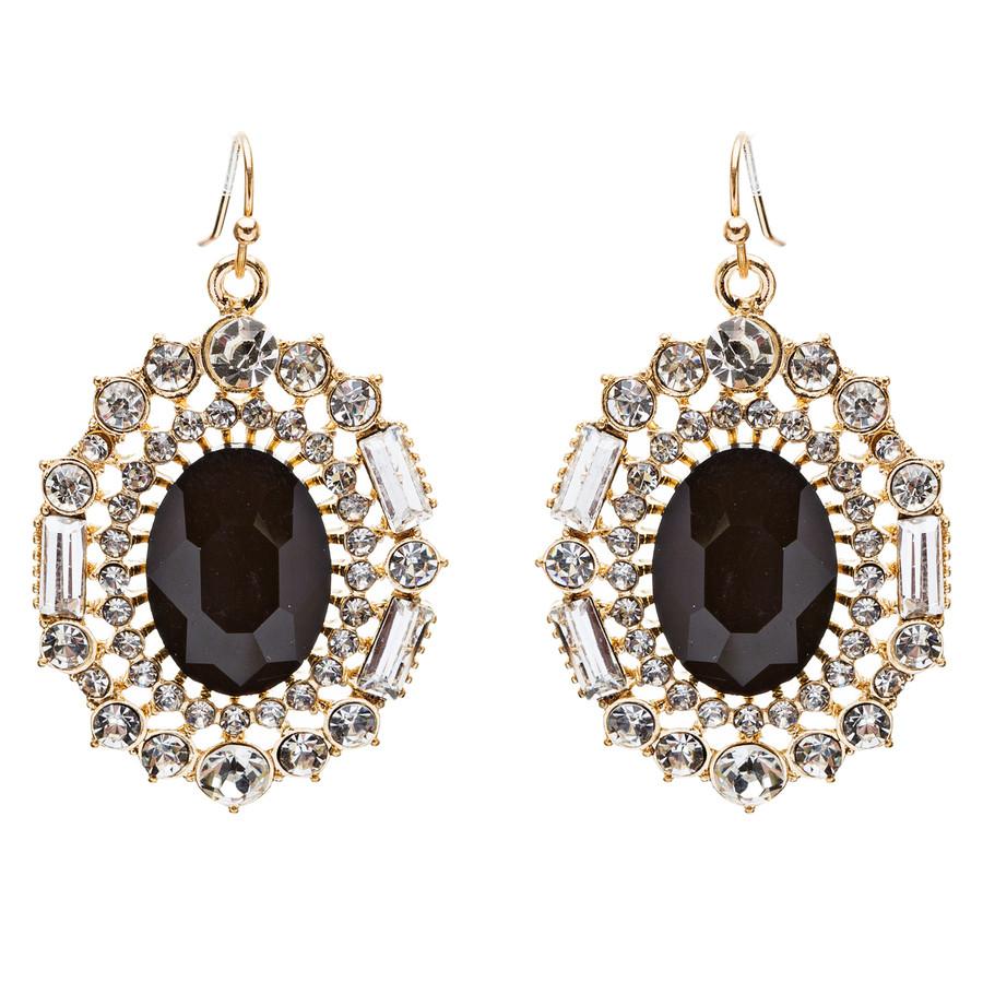 Exquisite Beautiful Crystal Rhinestone Dangle Bridal Fashion Earrings E738 Black