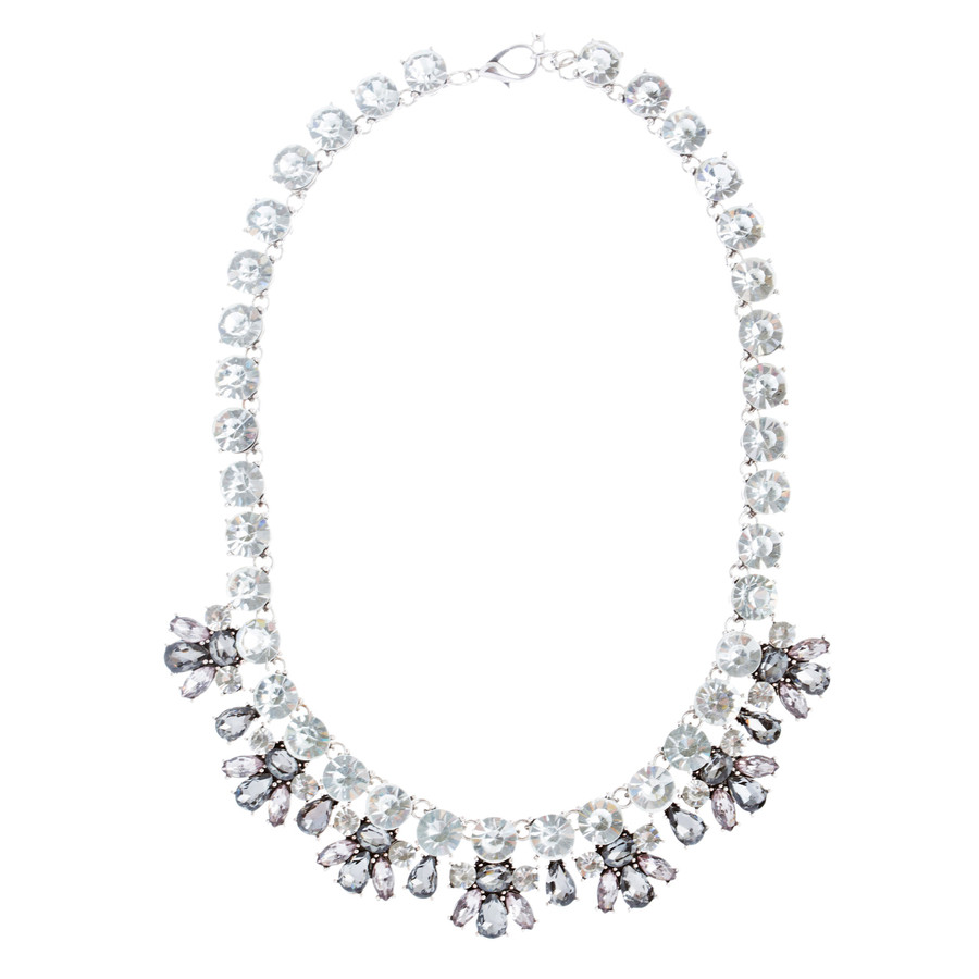 Stunning Sparkle Crystal Bold Design Fashion Statement Necklace Set JN181Gray