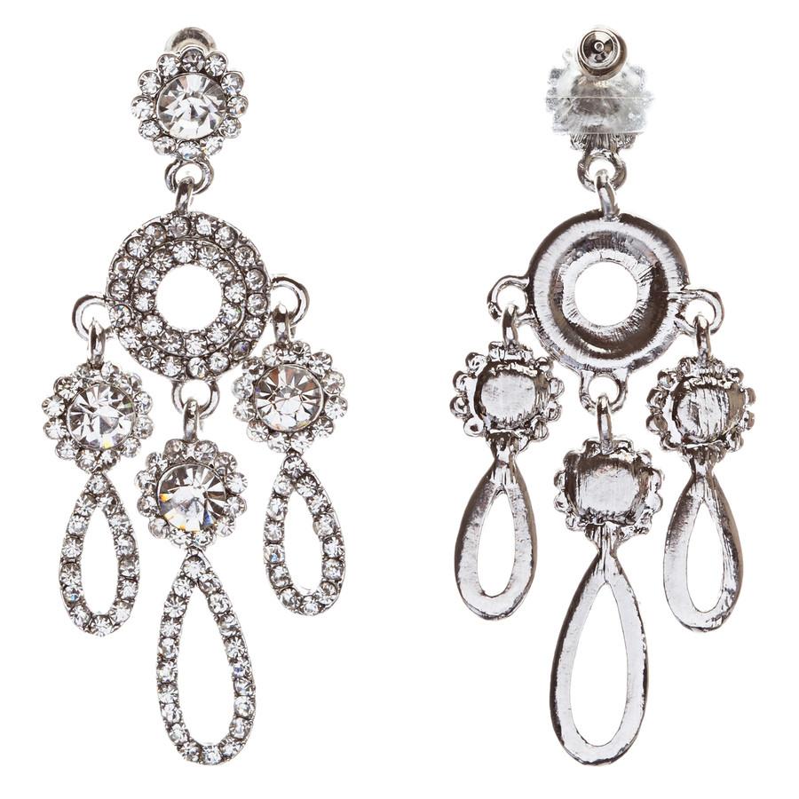 Crystal Pave Teardrop Chandelier Earring Clear Silver