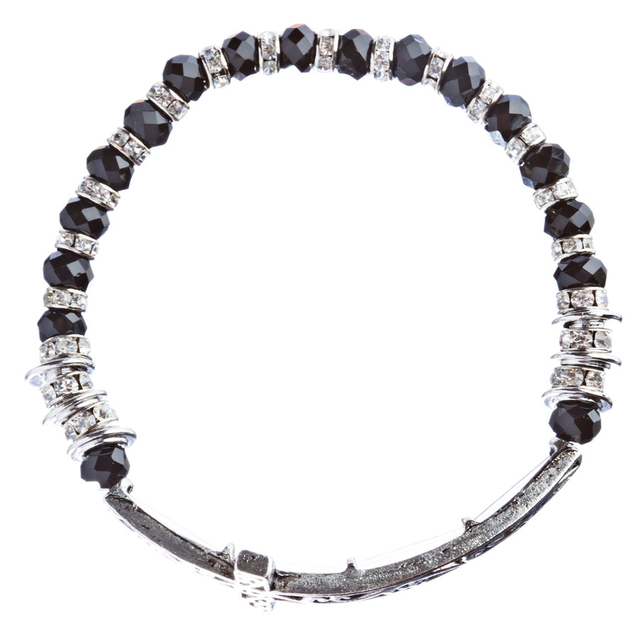 Lovely Crystal Rhinestone Cross Design Fashion Statement Bracelet B472 Black
