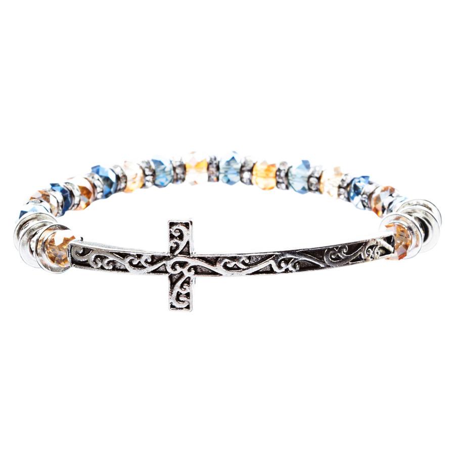 Lovely Crystal Rhinestone Cross Design Fashion Statement Bracelet B472 Multi