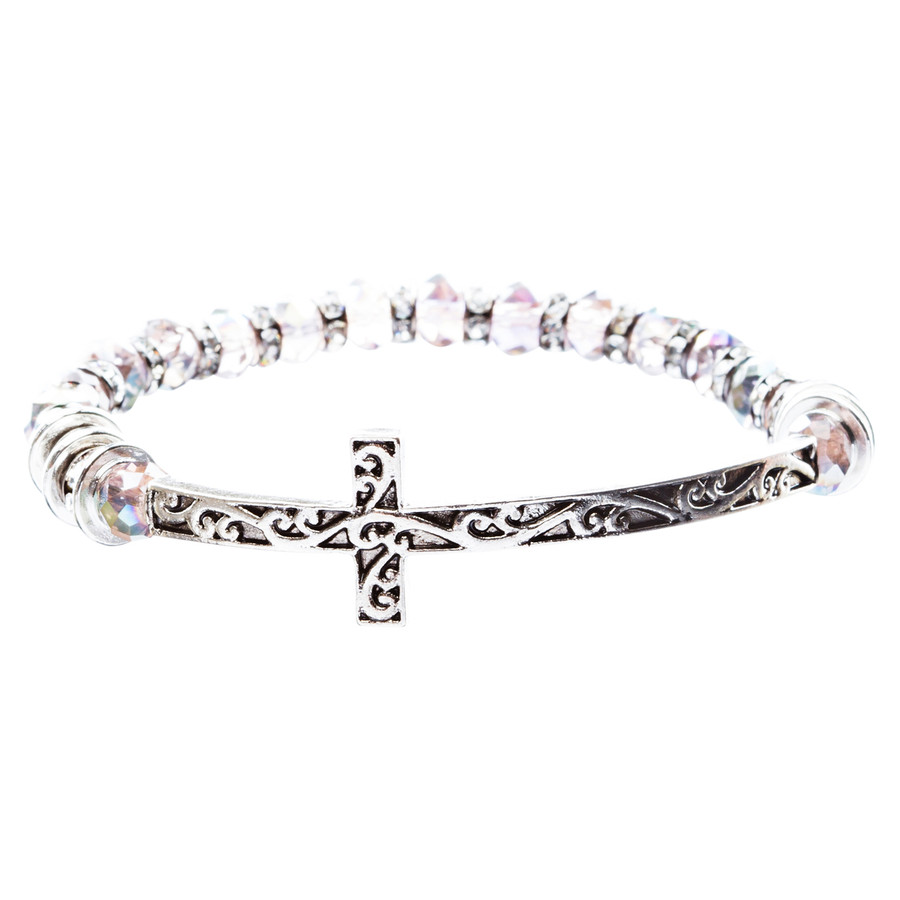 Lovely Crystal Rhinestone Cross Design Fashion Statement Bracelet B472 Purple