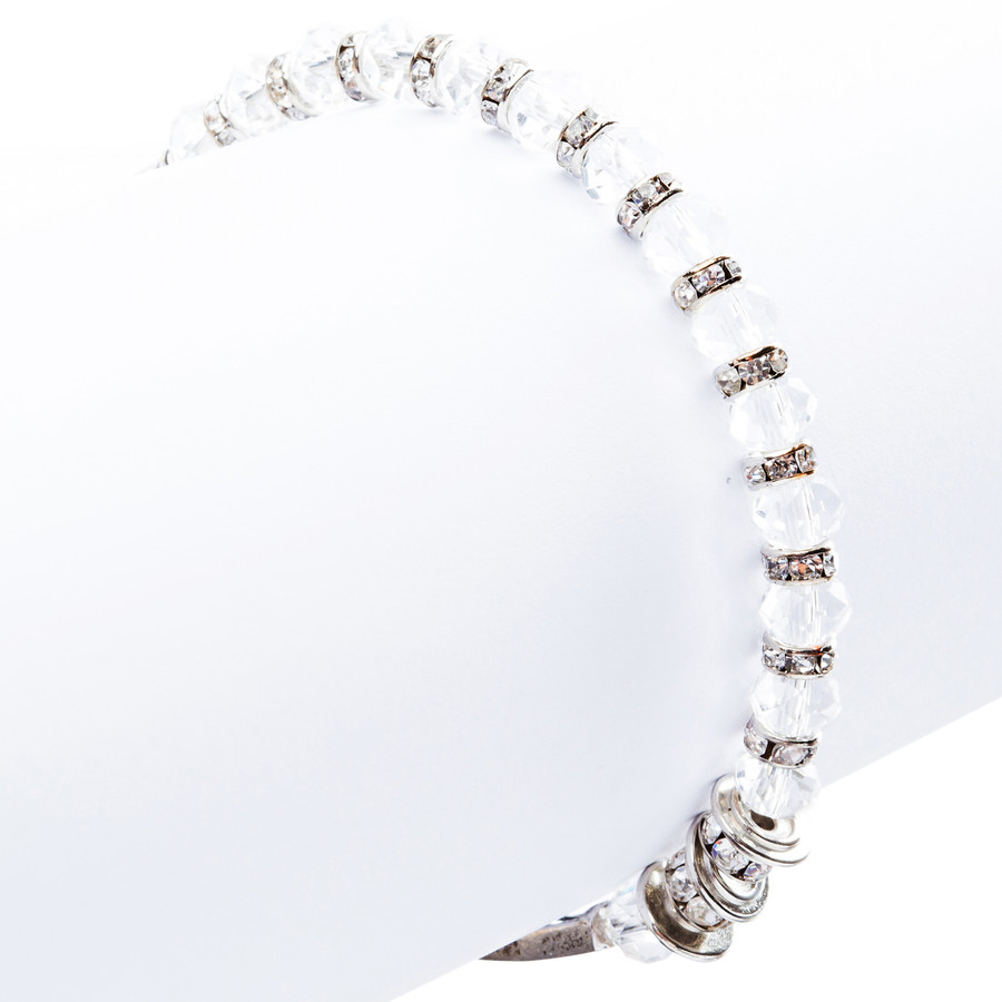 Lovely Crystal Rhinestone Cross Design Fashion Statement Bracelet B472 White