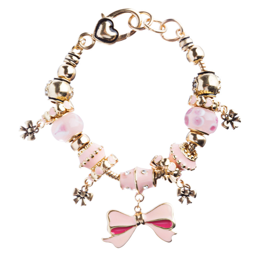 Pink Ribbon Jewelry Crystal Rhinestone Lovely Charm Link Bracelet B476 Pink