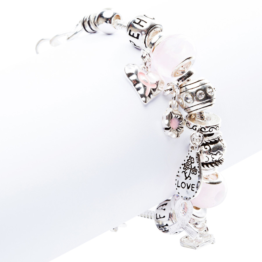 Pink Ribbon Jewelry Crystal Rhinestone Dainty Charms Link Bracelet B480 Silver