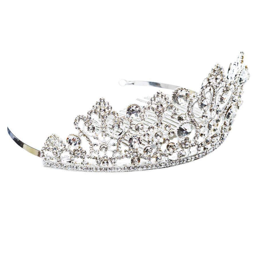 Bridal Wedding Jewelry Crystal Rhinestone Exquisite Crown Tiara H173 Silver