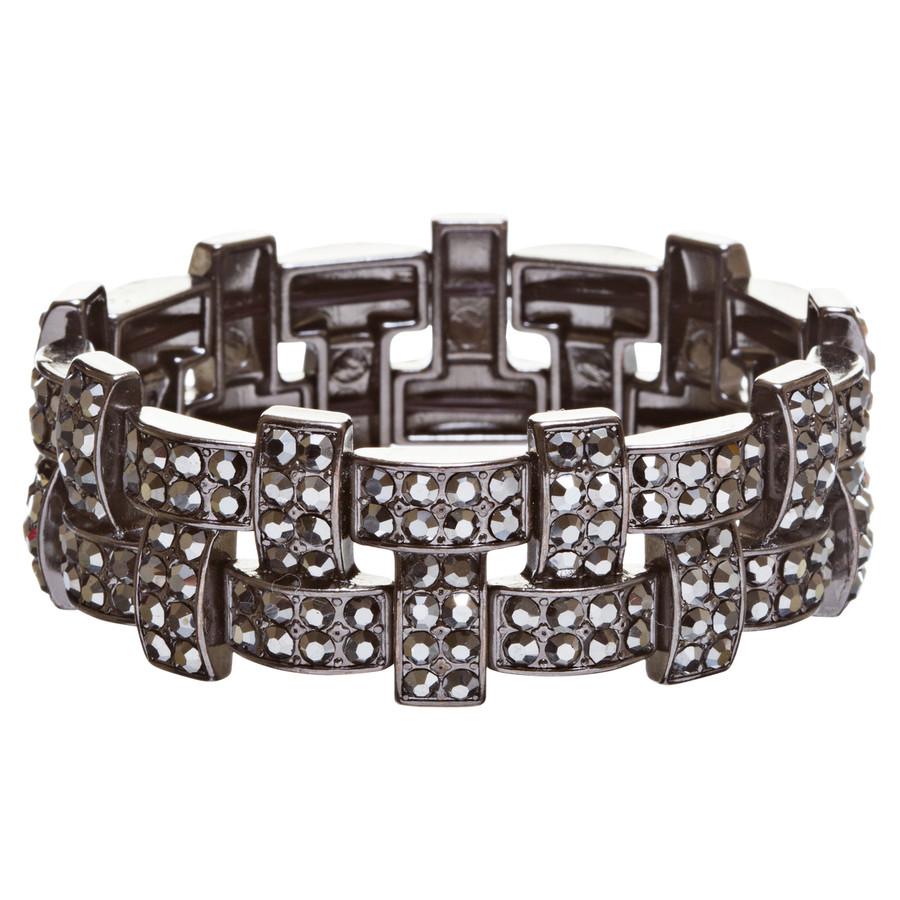 Bridal Wedding Jewelry Crystal Rhinestone Stunning Woven Stretch Bracelet B278BK