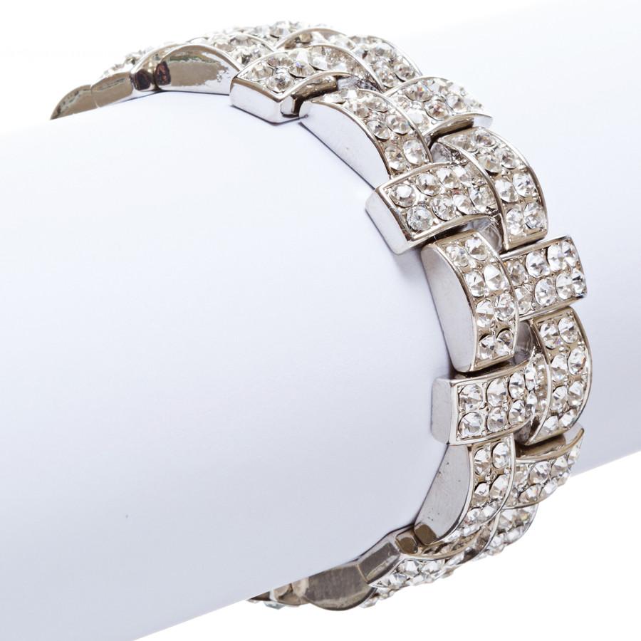 Bridal Wedding Jewelry Crystal Rhinestone Stunning Woven Stretch Bracelet B278SV