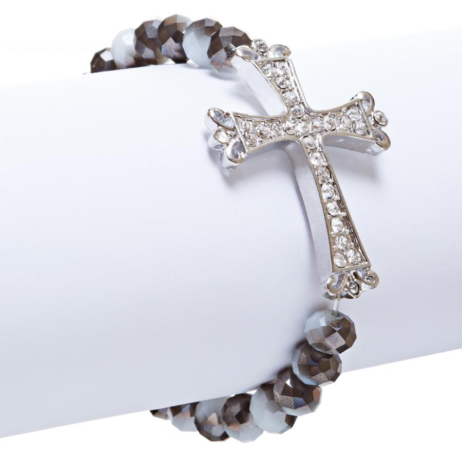 Cross Jewelry Crystal Rhinestone Vintage Design Cross Stretch Bracelet B501 BLK