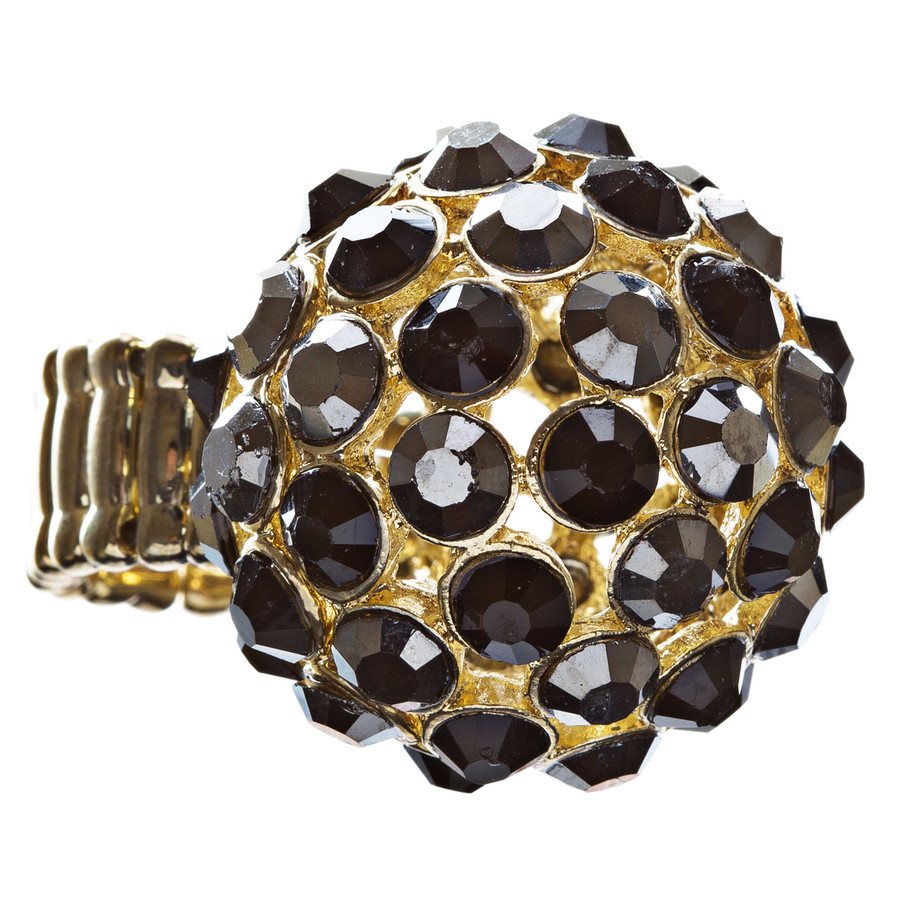 Modern Fashion Charming Duo Tone Dome Round Crystal Pave Stretch Ring R78 Gold