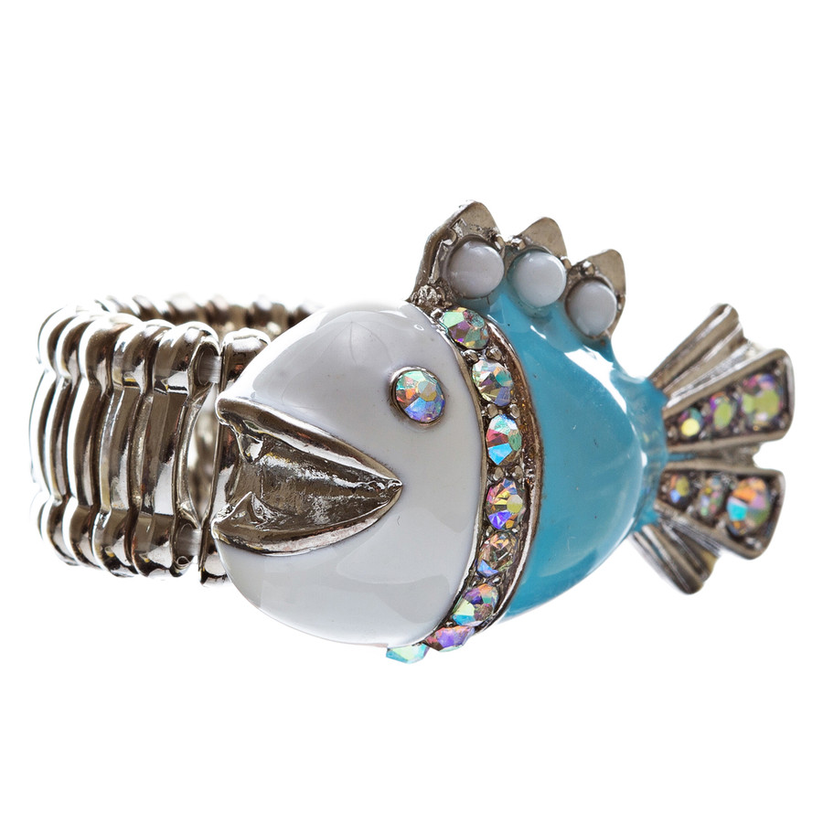 Ocean Theme Crystal Rhinestone Fancy Fishlike Design Stretch Ring R90 Blue