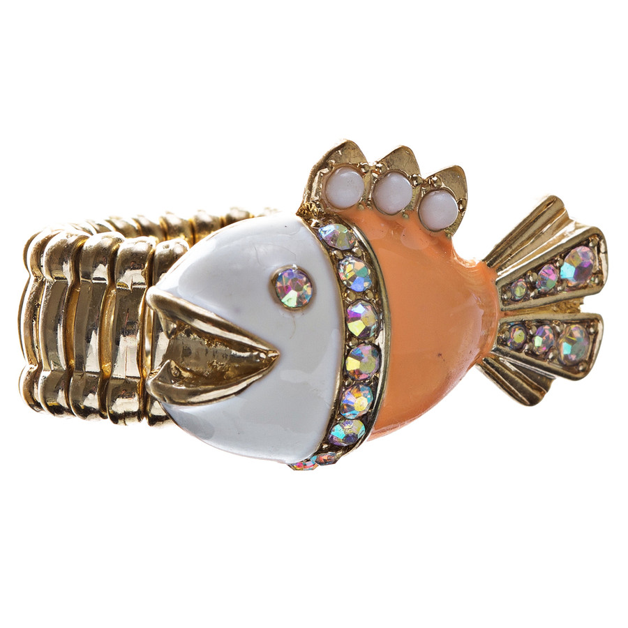 Ocean Theme Crystal Rhinestone Fancy Fishlike Design Stretch Ring R90 Orange