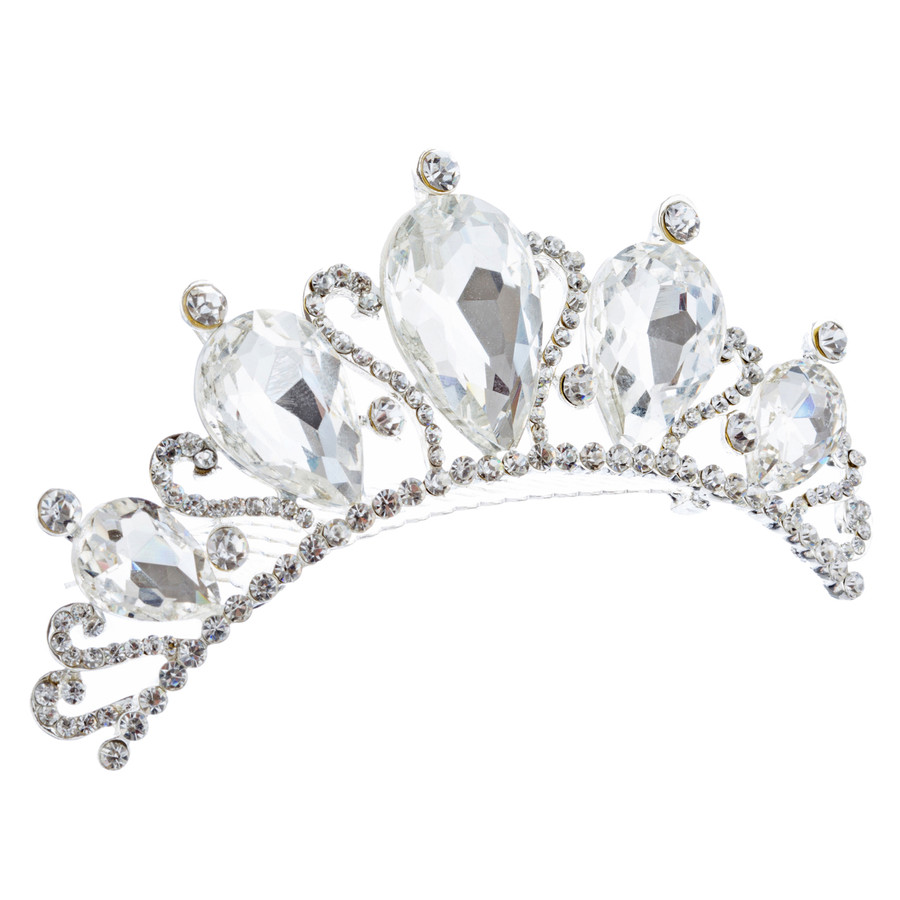 Bridal Wedding Jewelry Crystal Rhinestone Beautiful Teardrop Hair Comb H135 SV