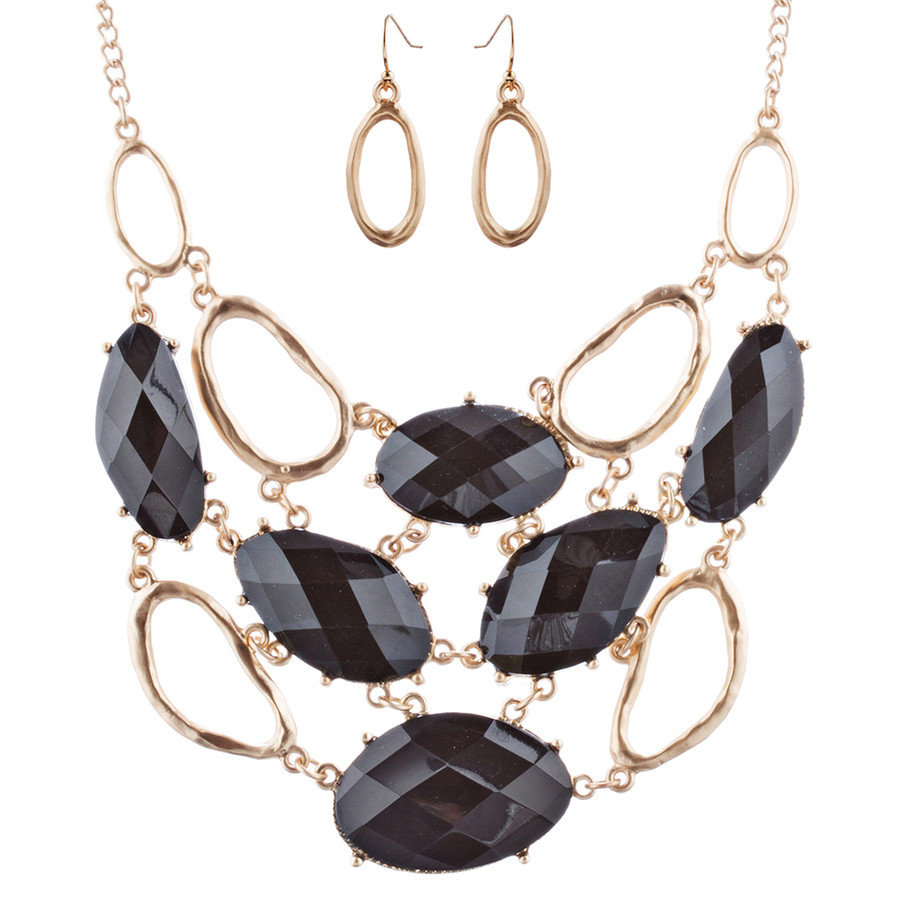 Stunning Bold Bib Style Fashion Statement Necklace Set JN276 Gold Black