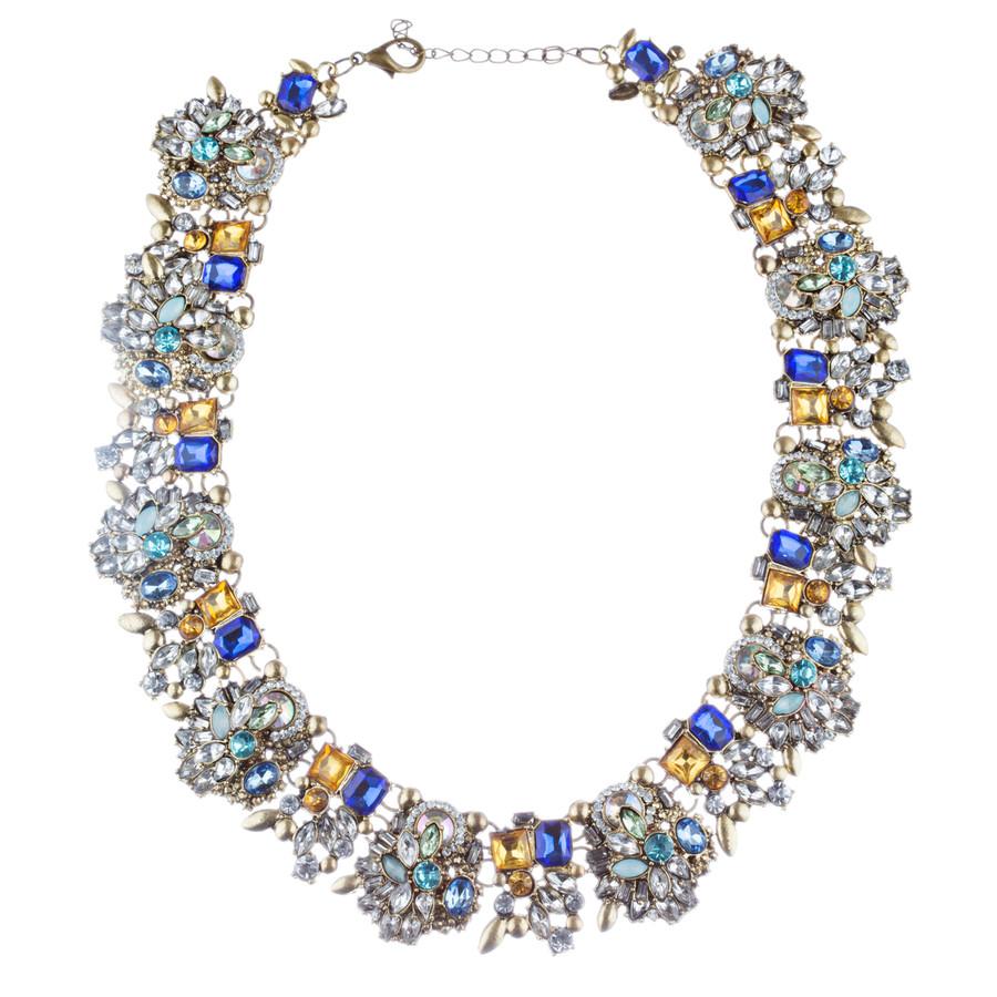 Stunning Sparkle Crystal Rhinestone Fashion Statement Necklace N100 Blue