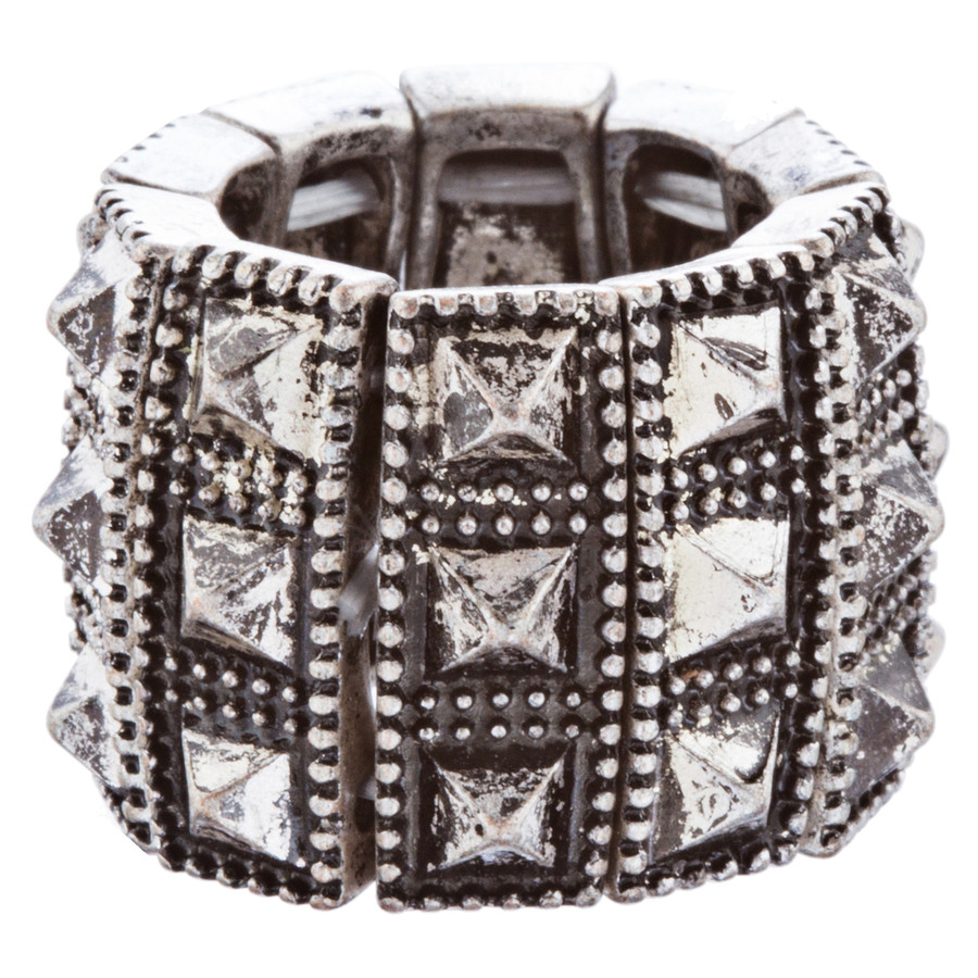 Stylish Chic 3 Rows Spike Design Stretch Fashion Ring R221 Antique Silver