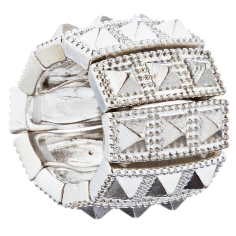 Stylish Chic 3 Rows Spike Design Stretch Fashion Ring R221 Silver