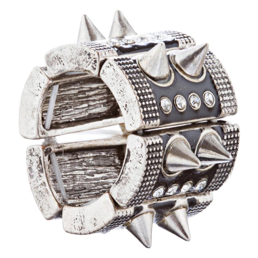 Ultra Chic Spike Design Stretch Fashion Ring R222 Black Silver
