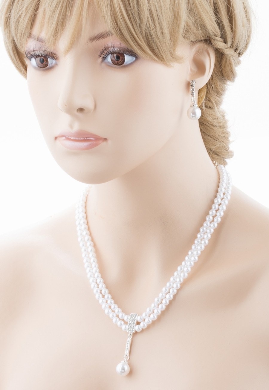 Bridal Wedding Jewelry Crystal Rhinestone Pearl Classic Necklace Set J701 Silver