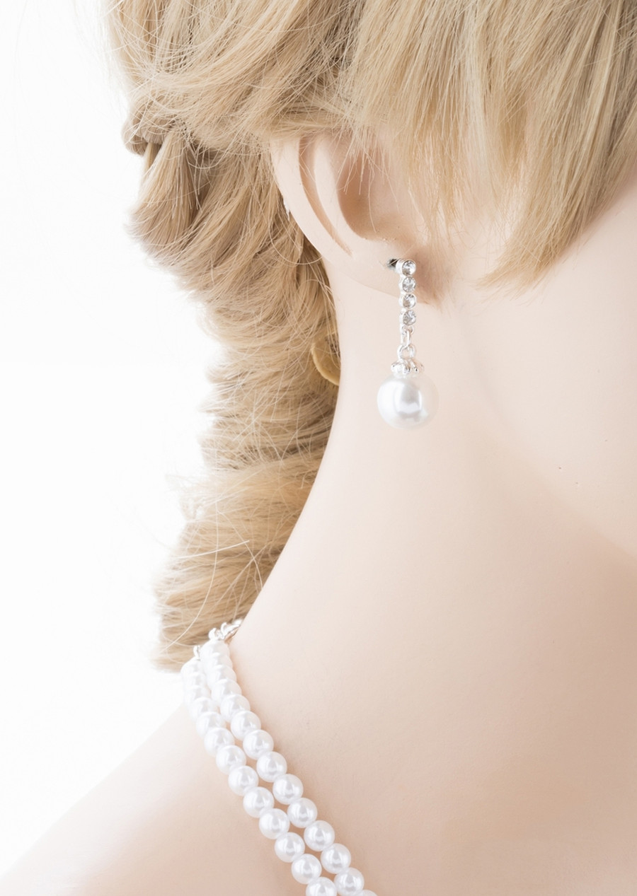 Bridal Wedding Jewelry Crystal Rhinestone Pearl Classic Necklace Set J701 Silver