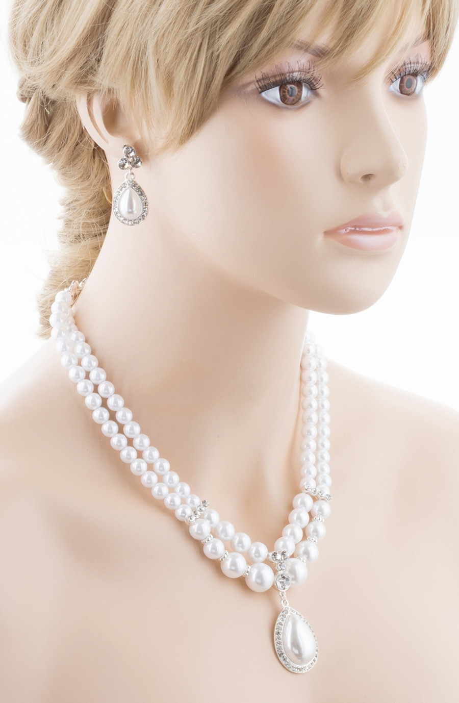 Bridal Wedding Jewelry Crystal Rhinestone Pearl Teardrop Necklace Set J704 SV