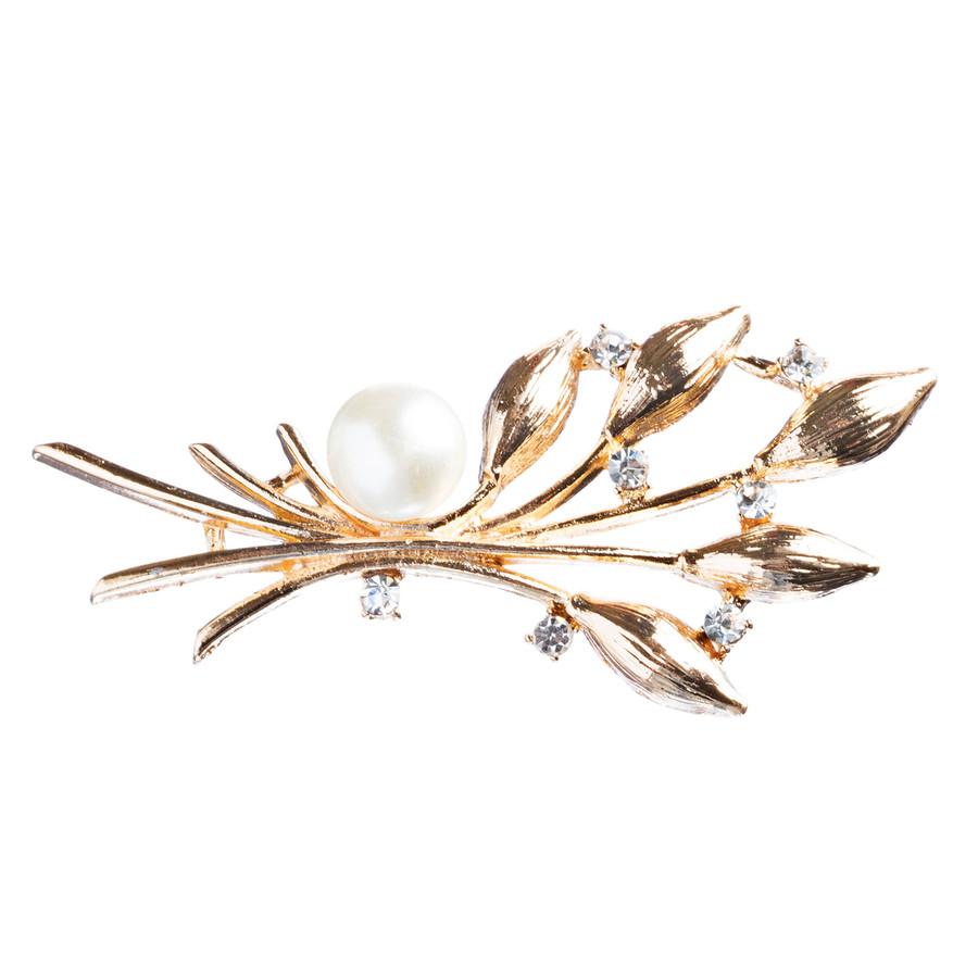 Bridal Wedding Jewelry Crystal Rhinestone Pearl Vine Brooch Pin BH168 Gold
