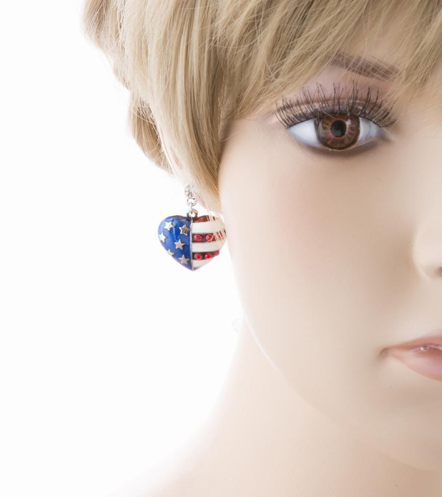 Patriotic American Flag 3D Heart Charm Earrings Silver