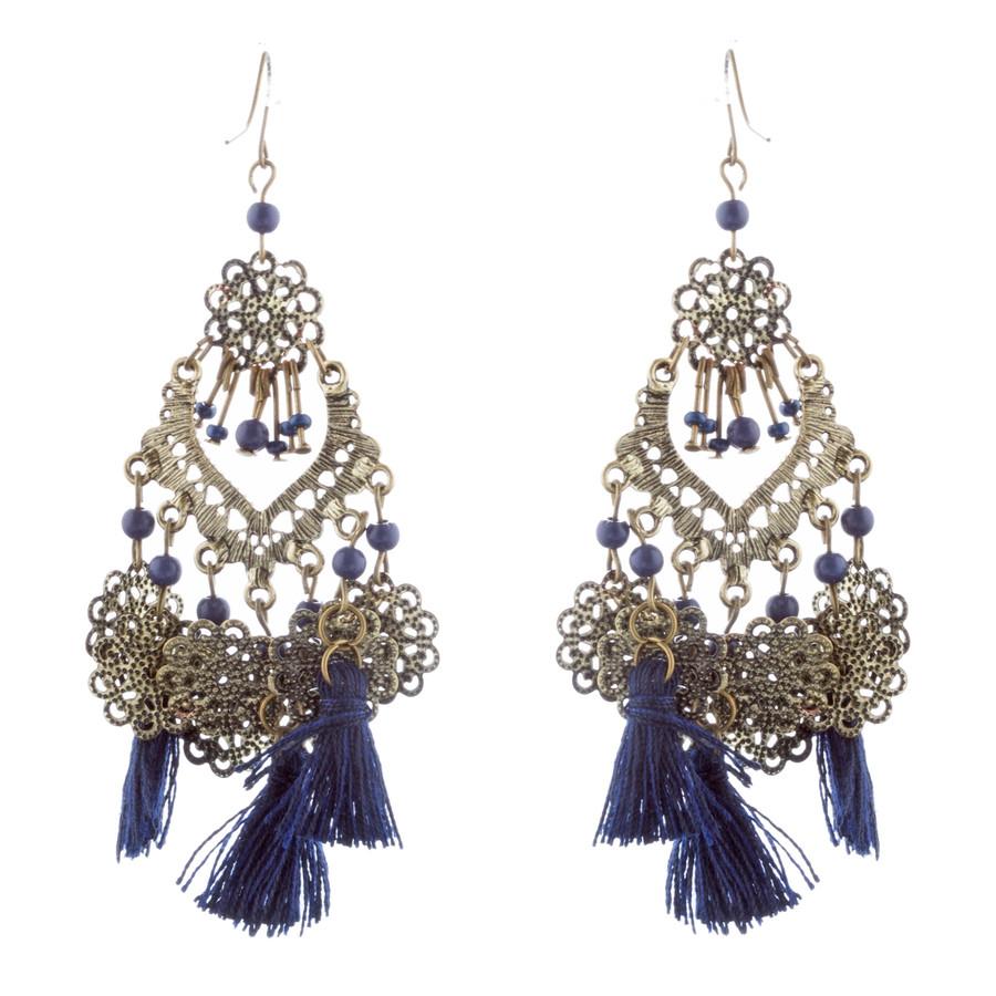 Beautiful Statement Fashion Style Tassel  Beads Dangle Earrings E952 Blue