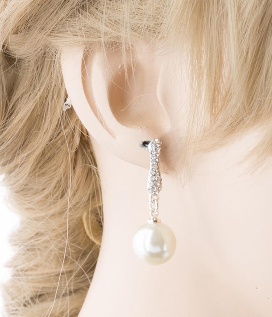 Bridal Wedding Jewelry Crystal Rhinestone Pearl Simple Dangle Earrings E975 SV