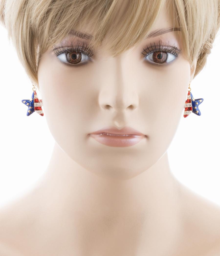 Patriotic American Flag 3D Star Charm Earrings Gold