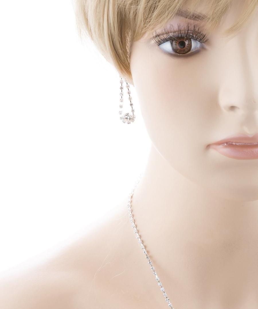 Bridal Wedding Jewelry Crystal Rhinestone Dazzle Bib Drop Necklace Set J662 SV