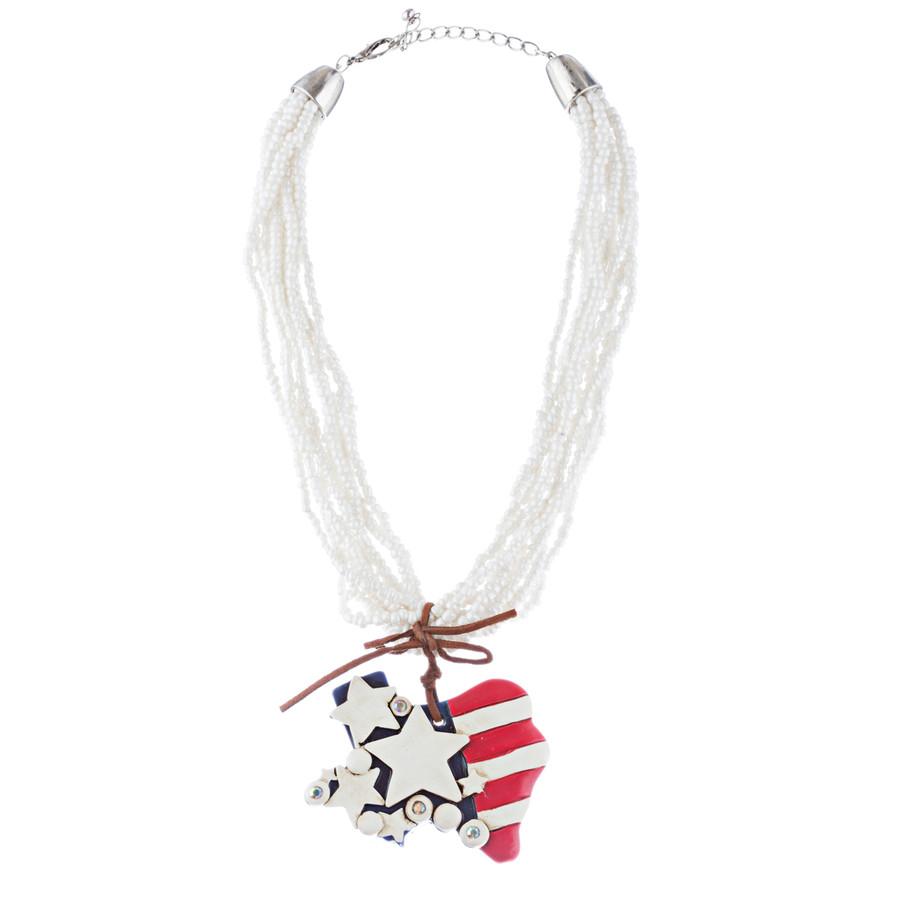 Patriotic Jewelry Multi Strands Crystal Rhinestone Heart Star Necklace JN267 WT
