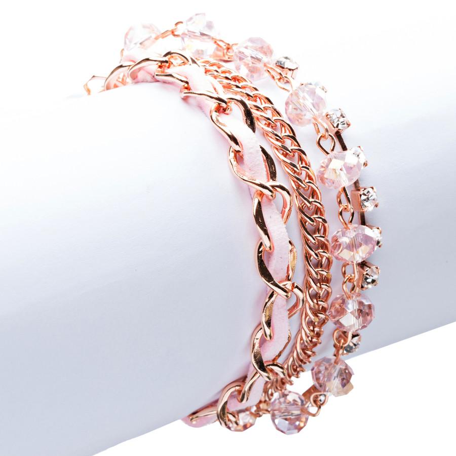 Modern Fashion Crystal Rhinestone Gorgeous Multi Layered Bracelet B464 Pink
