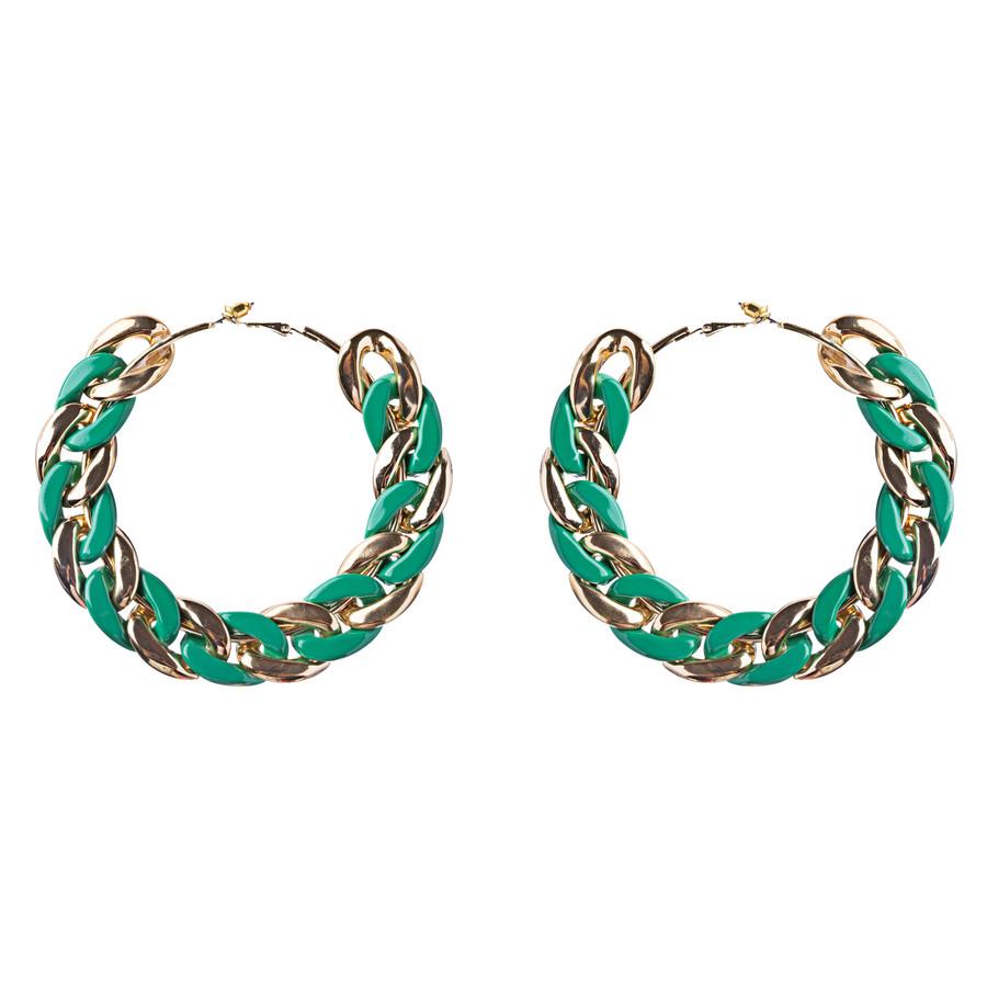 Modern Fashion Unique Intertwined Chain Links Pattern Hoop Earrings E780 Green